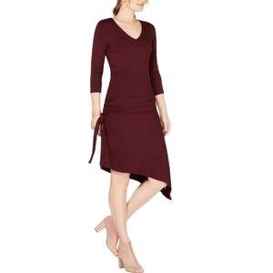 NWT INC Ruched Asymmetrical 3/4 Dress